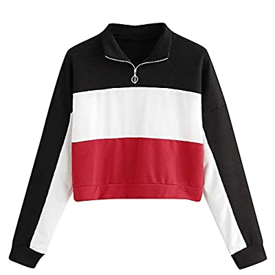 Londony ??? Clearance Sales 2018,Pullover Sweaters for Women Long Sleeve Color Block Patch Zipper Crop Tops