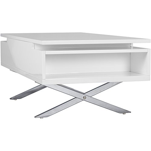 Stainless Steel And Wood Coffee Table: MIX High Gloss Lacquer Wood Stainless Steel Legs White