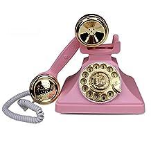 Teléfono Antiguo De Llamadas Rotativas Oficina De Moda Creativa con Cable Fijo Retro Vintage,Pink