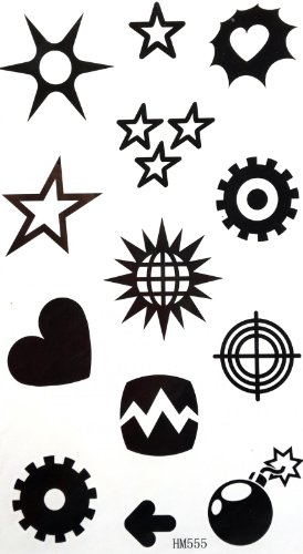 SPESTYLE body art design tattoo tickers star, sun, heart, Earth, lightning, thunder, mines, etc totem design temporary tattoos stickers (Earth Tattoo Henna)