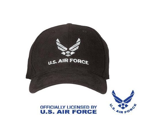 Low Profile Black Insignia Cap - Black New Wing US Air Force Low Profile USAF Hat Cap