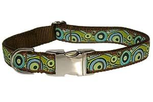 Sassy Dog Wear 18-28-Inch Green Circles and Waves Dog Collar, Large
