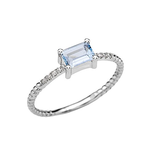 14k White Gold Diamond and Emerald Cut Solitaire Aquamarine Dainty Promise/Engagement Ring(Size 12)