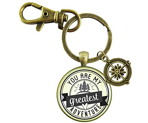- You Are My Greatest Adventure Keychain Vintage Outdoors Inspired Romantic Couple Jewelry Gift Compass Charm