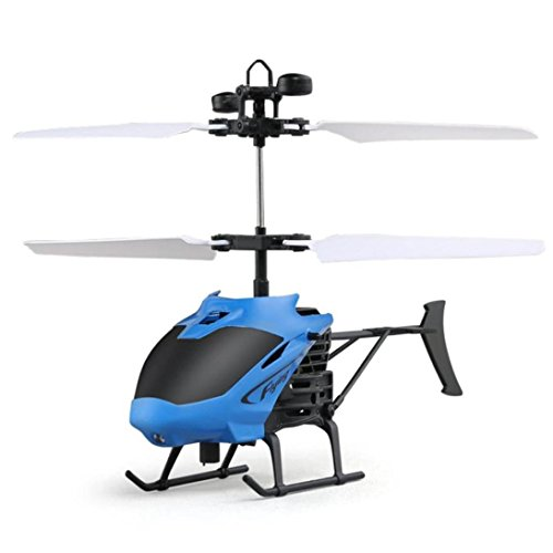 Gbell Cool Mini Helicopter Flying RC Infraed Induction Helicopter Aircraft Flashing Light Toys For Kids + Remote Control (Blue)