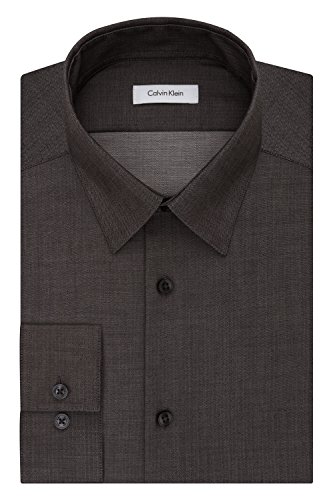 Calvin Klein Men's Dress Shirt Slim Fit Non Iron Herringbone, rock, 15