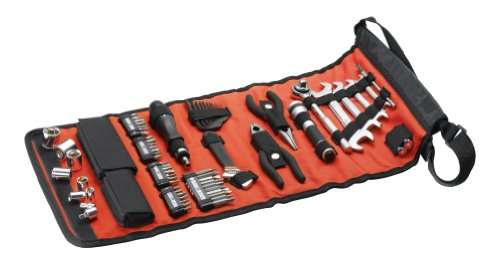 Black + Decker Rolltasche mit Autowerkzeugzubehör, Taschenlampe, Schrauberklingen, Bits, Handwerkzeuge, A7144