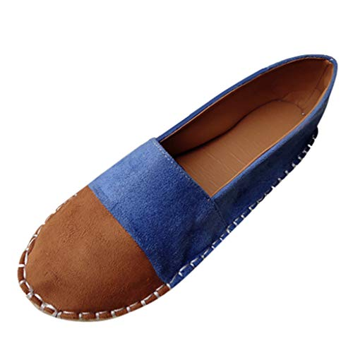 Kiminana Women's Suede Color Matching One-Legged Lazy Shoes Woven Hemp Rope Flats Fisherman Shoes Women's Shoes ()