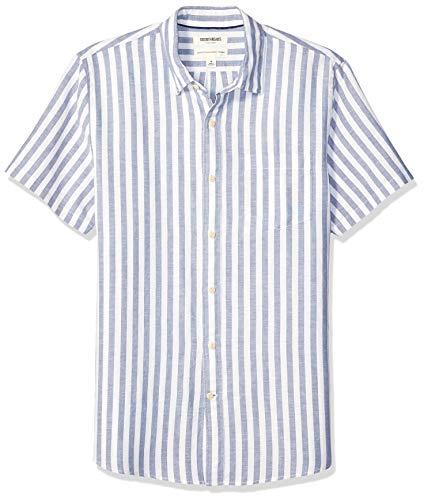 Goodthreads Men's Standard-Fit Short-Sleeve Linen Cotton Shirt, White Blue Stripe, X-Large