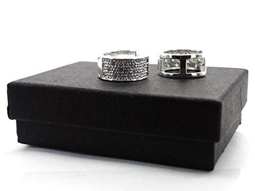 Impressionnante intemporel 925Boucles d'oreilles en argent poinçonné avec des pierres précieuses de clair et Noir Boîte cadeau