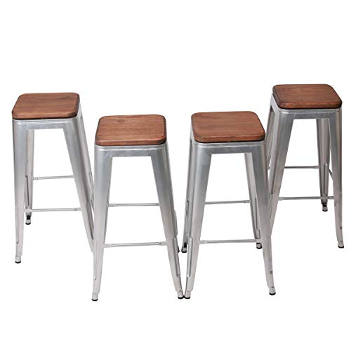 0 Inch Swivel Metal Bar Stool Stack-able for Indoor-Outdoor Kitchen Counter Barstools Set of 4 (30 inch, Swivel Silver Wooden) ()