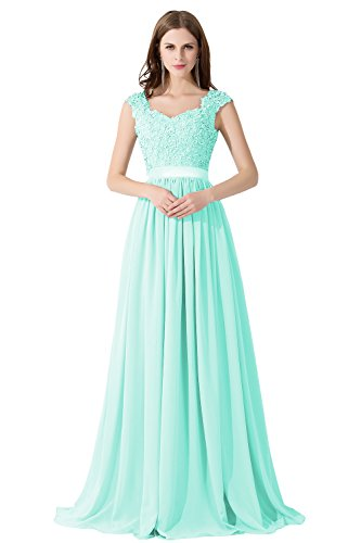Farben Chiffon Mintgrün Linie Abendkleid Brautjungfernkleid in 8 46 Maxilang Spitze Damen A 32 Elegant nXYRROz