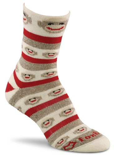Fox River Women's Red Heel Merino Monkey Stripe Crew Socks, Brown Heather, Medium (River Fox Socks Wool)