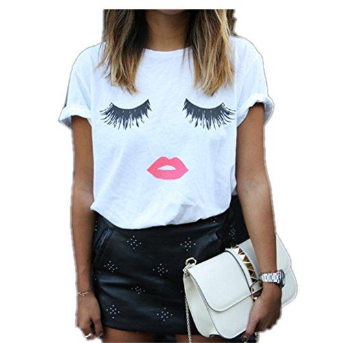 bcb2ab9f1e2 WHATWEARS Women T-shirts Short Sleeve Eyelash Lips Loose Tops Blouse Shirt  - Buy Online in Oman.