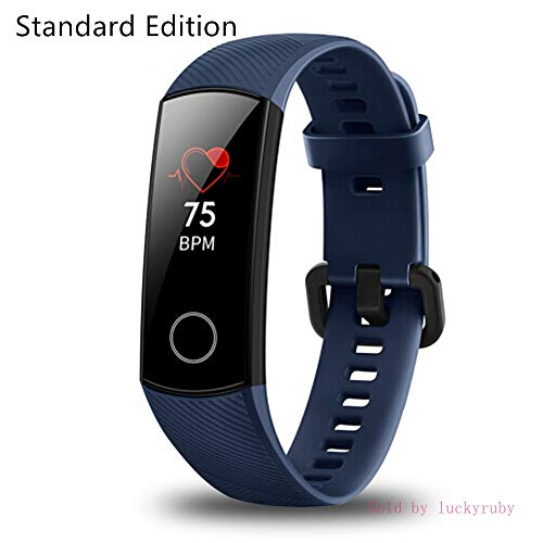 - Huawei Honor Band 4 6-Axis Inertial Heart Rate Monitor Infrared Light Wear Detection Sensor Full Touch AMOLED Color Screen Home Button All-in-One Activity Tracker 5ATM Waterproof (Midnight blue)