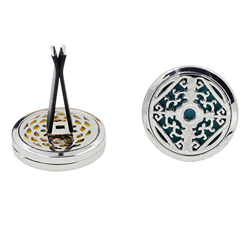 ener Aromatherapy Essential Oil Diffuser Vent Clip Fragrance Air Purifier Stainless Steel Magnetic Locket 6 Colorful Felt Refill Pads (Pattern-9) ()
