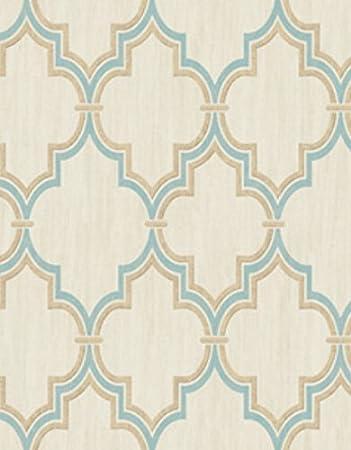 Wallpaper Aqua Metallic Gold Moroccan Trellis Lattice on Faux