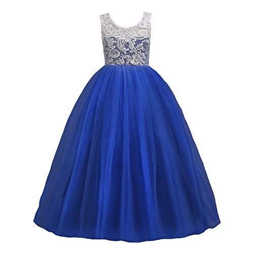 LPATTERN Little/Big Girls Sleeveless Vintage Lace Tulle Dress Princess Flower Girls Floral Maxi Evening Gowns, Royal Blue, 6-7 Years(Label: -