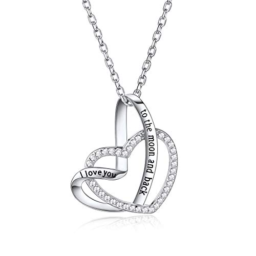 (925 Sterling Silver Double Heart Necklace Engraved I Love You to The Moon and Back Pendant Gift for Her CZ Jewelry)