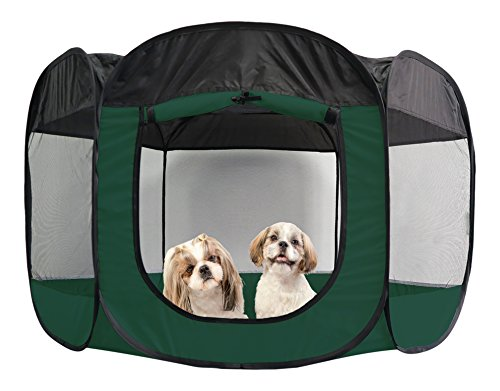 (FurHaven Pet Playpen | Mesh Open-Air Dog Playpen/Exercise Pen, Hunter Green, X-Large)