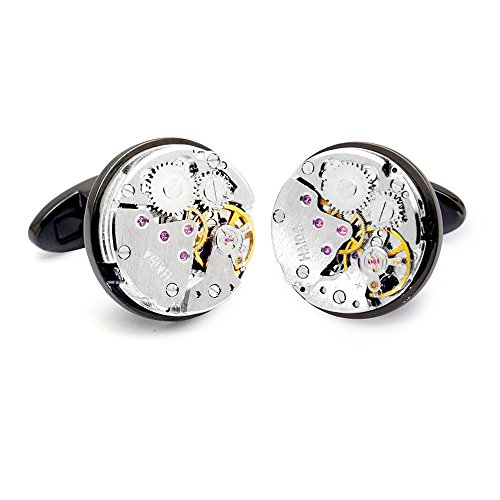 Honey Bear Cufflinks for Mens - Vintage Watch Movement Steampunk, Stainless Steel (Black Round )