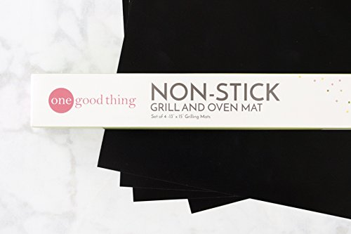 Non-Stick Grill and Oven Mats (Set of 4) 13 x 15 inch Reusable FDA Approved, PFOA Free BBQ and Baking Mats by One Good Thing for Ovens, Stoves and Gas, Charcoal, Electric Grills For Sale