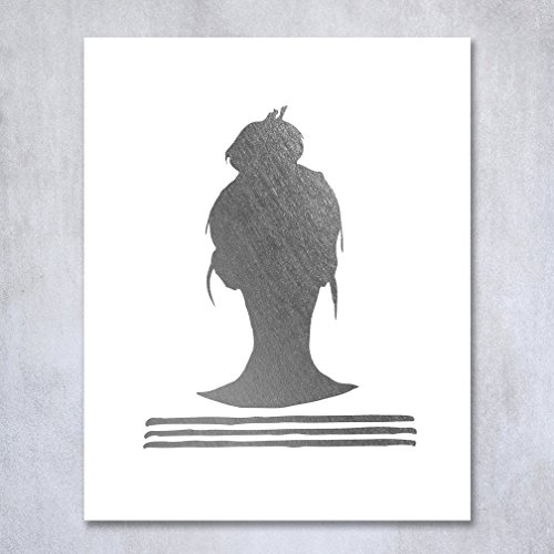 Top Knot Silhouette Silver Foil Decor Print Woman Bun Hairstyle Stripes French Chic Girly Office Poster Wall Art 5 inches x 7 - Silhouette Style