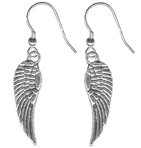 (Pair of Tiny Angel Wing Earrings-Pewter Feather Steel Hook )