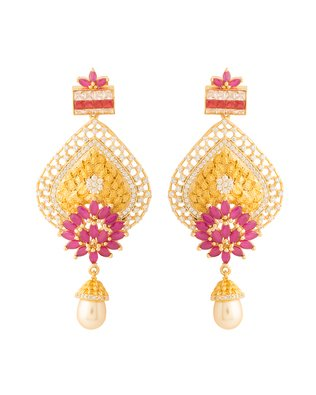 Colors Voylla Navrang Striking Earrings With CZ Embellishment