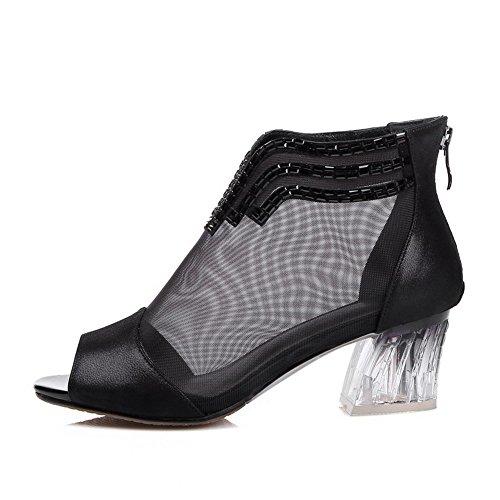 Allhqfashion Womens Peep Toe Sheepskin Kitten Hakken Stevige Sandalen Met Glas Diamant Zwart