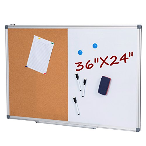 GOOD LIFE Dry Erase & Cork Board 36 x 24 Inch Cork Bulletin Board Set, Half Whiteboard & Half Corkboard and Full Whiteboard Back, Aluminium Frame (Include 3 x Pen, 2 x Magnets, 1 x Eraser, 20 x Pus Dry Erase Bulletin Board