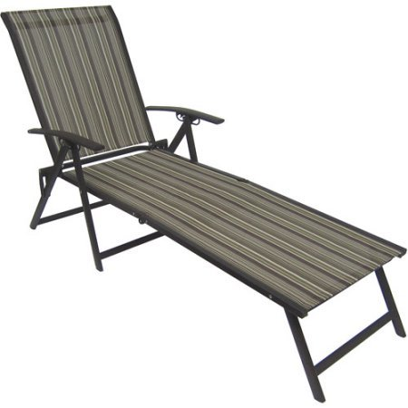 Mainstays Fair Park Sling Folding Lounge Chairs, Set of 2, Solid Stripe (Multi-Stripe)