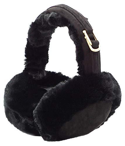 Lovful Womens Girls Winter Warm Crocheted Knitted Faux Fur Plush Ear Warmers Earmuffs, Black_1, One Size