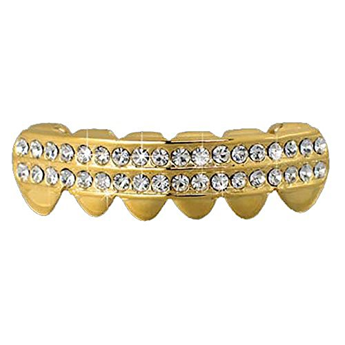 14K Gold Plated Hip Hop Bottom Row Clear 2 Row Removable Grillz Clear Bottoms Grillz