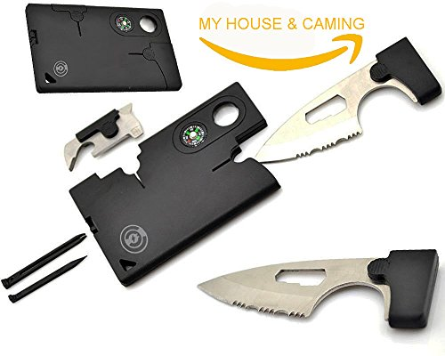 Black pocket Credit Card knife Companion with Lens/Compass ToolLogic 11 IN 1. Multi Tool MY HOUSE & CAMPING