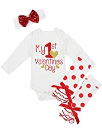 My First Valentine's Day Outfit Set Baby Girls Cute...
