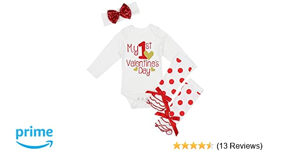 caae28894 Amazon.com  My First Valentine s Day Outfit Set Baby Girls Cute ...