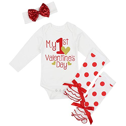 My First Valentine's Day Outfit Set Baby Girls Cute Romper Bodysuit + Dots Leg Warmers + Headband 3-6 Months Red
