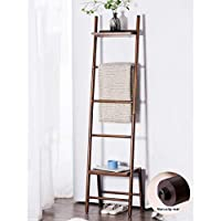 Free Standing Blanket Ladder Towel Drying Rack, Bamboo Towels Rack Stand with Storage Shelf Tall for Bathroom, Bedroom, Brown
