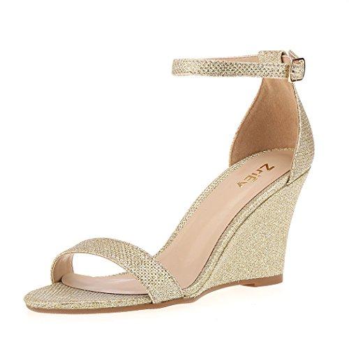 ZriEy Women's Ankle Strap Buckle Mid Wedge Platform Heeled Sandals 8CM Summer Dress Sandals Pump Shoes Glod Size 5