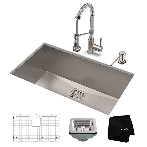 KRAUS KHU32-1610-53SSCH Set with Pax Sink and Bolden Commercial Pull Faucet in Stainless Steel Chrome Kitchen Sink & Faucet Combo, 32 Inch, Stainess