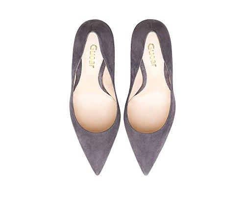 Guoar Dames Stiletto Big Size Schoenen Puntschoen Dames Hoge Hakken Pumps Voor Werk Prom Dress Party A-grijs Suède