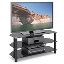 CorLiving TRA-703-T Trinidad Black Glass TV/Component Stand