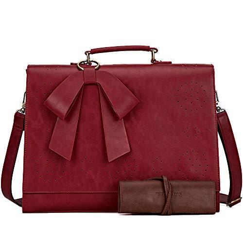 SOSATCHEL Women Briefcase PU Leather Laptop Messenger Shoulder Bag Handbag Fit 15.6 Inch Notebook, Red (Upgraded)