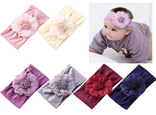 Flower Headband Bow - Baby Girl Nylon Headbands Newborn Infant Toddler Hairbands Children Bows Petal Flower knotted Soft Headwrap Hair Accessories
