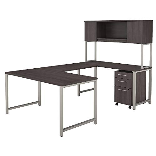 Bush Business Furniture 400 Series 60W x 30D U Shaped Table Desk with Hutch and 3 Drawer Mobile File Cabinet in Storm Gray (Off Roll Levelers)