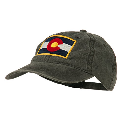 Colorado State Flag Embroidered Washed Buckle Cap - Black (State Seal Ball Cap)