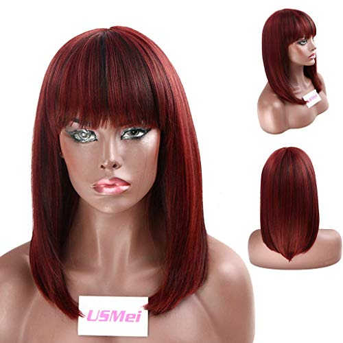 JYS Women's Mix Lubricious Bobo Wig, Head Covers Inclined Bang To Buckle Inside Long Wig,Fashion Long Wig For Lady & Girls, Women'S Long Wig Halloween, role-playing, and daily use,6Colours. (C)