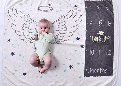 Baby Monthly Milestone Blanket | Photography Background Prop for Newborn Boy or Girl | 1 to 12 Months |100% Organic Fleece Extra Soft | Best Baby Shower Gift |