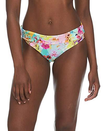 Skye Women's Mid Waist Full Coverage Bikini Bottom Swimsuit, Vivacity Floral Print, X-Large (Over Bikini)